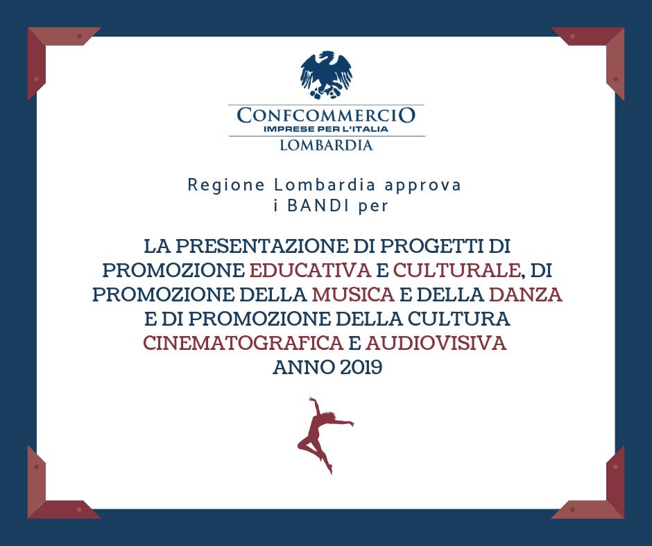 Regione Lombardia approva i bandi per la presentazione di progetti di promozione educativa e culturale, di promozione della musica e della danza e di promozione della cultura cinematografica e audiovisiva.
